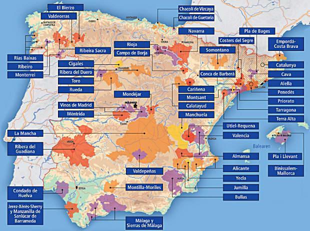 Weinanbaugebiete   Spanischer Wein